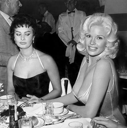 Photo of Sofia Loren envying Jayne Mansfield's ... dinner?