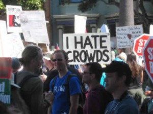 Photo of crowd-hating crowd member