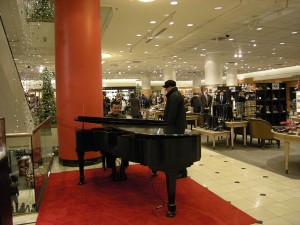 photo of nordstrom's piano player